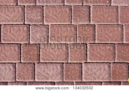 pattern of brick footpath background in red color
