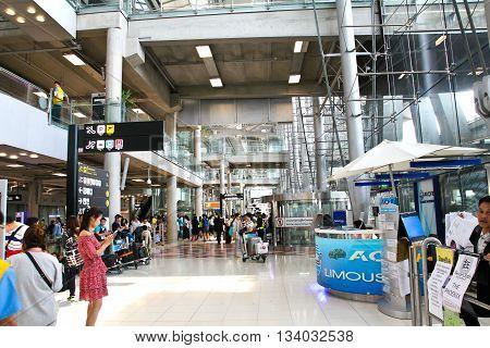 BANGKOK THAILAND - JUNE 11 2016: Suvarnabhumi Airport interior. Suvarnabhumi Airport is one of two international airports serving Bangkok