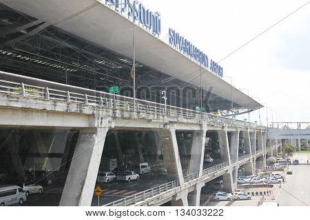 BANGKOK THAILAND - JUNE 11 2016: Suvarnabhumi Airport. Suvarnabhumi Airport is one of two international airports serving Bangkok