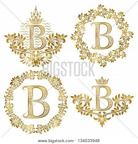 Golden letter B vintage monograms set. Heraldic monogram in coats of arms form letter B in floral round frame letter B in wreath heraldic monogram in floral decoration with crown.