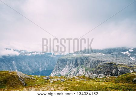 Landscape Of Norwegian Mountains. Nature Of Norway. Travel And Hiking. Amazing Scenic View. Nobody. Scandinavia