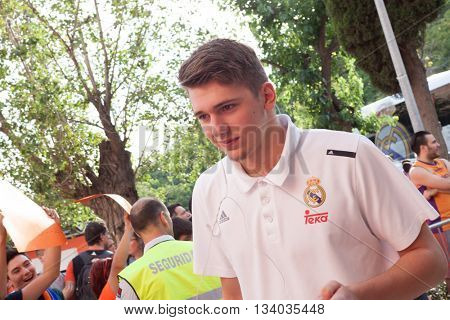 VALENCIA, SPAIN - JUNE 9th: Doncic during 4th playoff match between Valencia Basket and Real Madrid at Fonteta Stadium on June 9, 2016 in Valencia, Spain