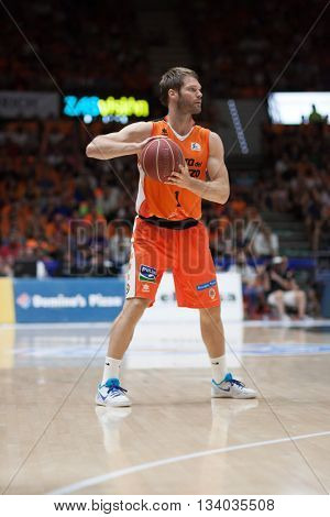 VALENCIA, SPAIN - JUNE 9th: Stefansson during 4th playoff match between Valencia Basket and Real Madrid at Fonteta Stadium on June 9, 2016 in Valencia, Spain