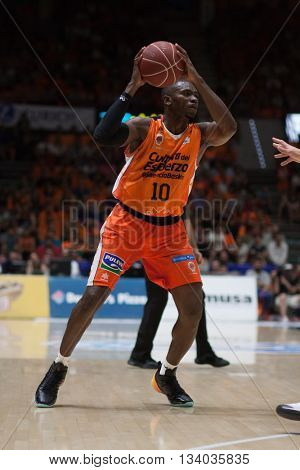 VALENCIA, SPAIN - JUNE 9th: Sato during 4th playoff match between Valencia Basket and Real Madrid at Fonteta Stadium on June 9, 2016 in Valencia, Spain