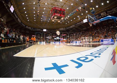 VALENCIA, SPAIN - JUNE 9th: Stadium during 4th playoff match between Valencia Basket and Real Madrid at Fonteta Stadium on June 9, 2016 in Valencia, Spain