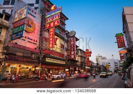 Sunset View Of Illuminated Yaowarat Road, Bangkok