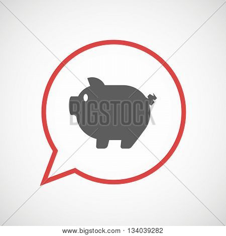 Isolated Comic Balloon With A Pig