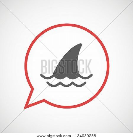 Isolated Comic Balloon With A Shark Fin