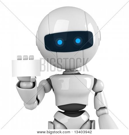 Funny white robot stay with blank card