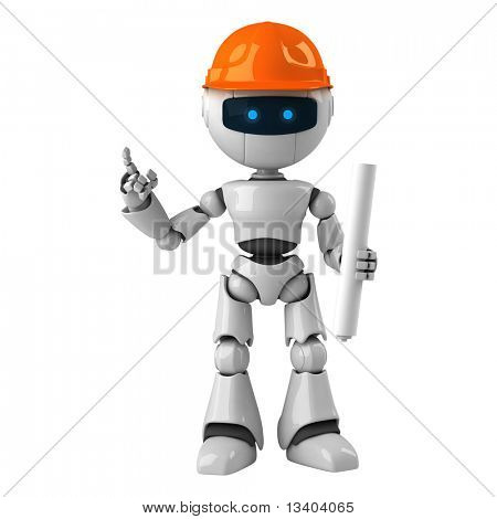 Funny white robot with blueprint