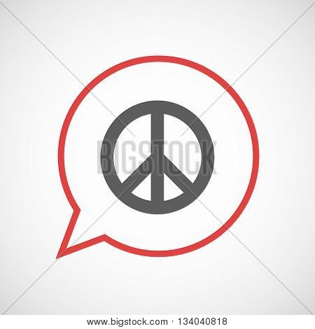 Isolated Comic Balloon With A Peace Sign
