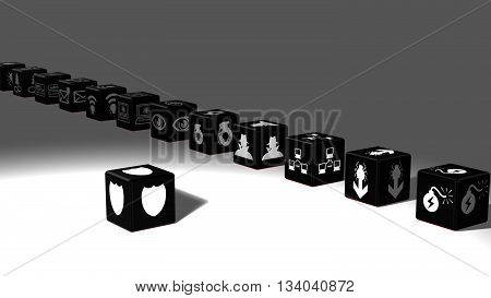Black dice in a row with information security threat icons isolated on white 3D illustration cybersecurity concept