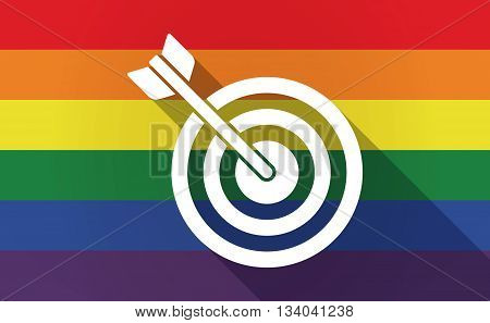 Long Shadow Gay Pride Flag With A Dart Board