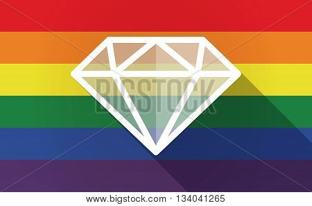 Long Shadow Gay Pride Flag With A Diamond