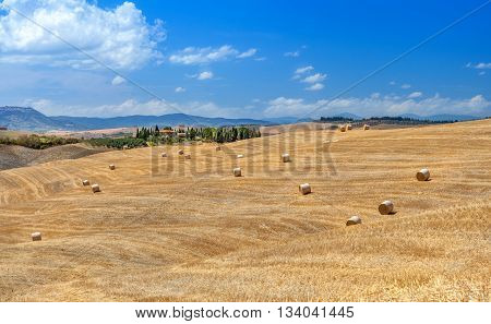 Rural landscapes of Tuscany Italy Europe. Lots of round bales and haystacks on the hills and fields. Agriculture.