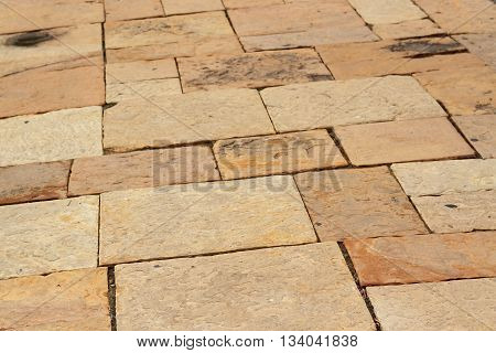 Beautiful Patio, Pathway, Street Of Brick With Brown Color