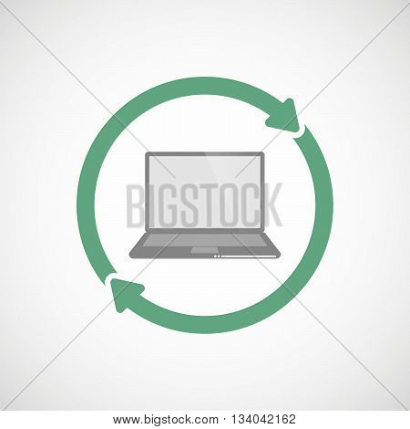 Reuse Line Art Sign With A Laptop