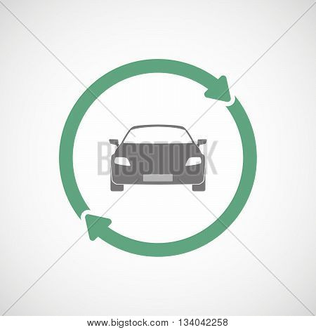 Reuse Line Art Sign With A Car