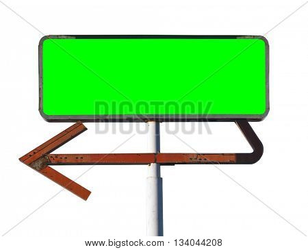 Vintage arrow sign isolated on white with chroma key green screen insert.