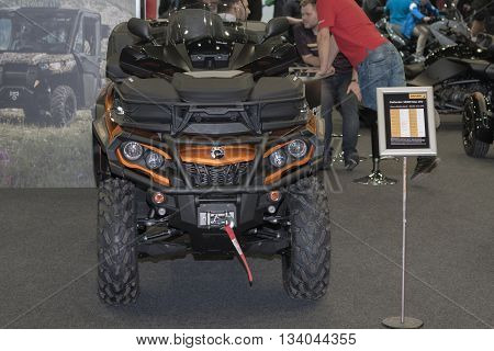 BRNO, CZECH REPUBLIC-MARCH 4,2016: Canadian Quad bike BRP Outlander Max 1000R LTD at International Fair for Motorcycles on March 4,2016 in Brno in Czech Republic