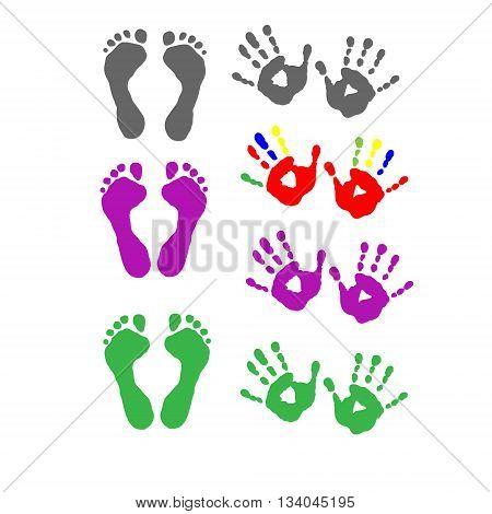 Set foot prints and a palm prints