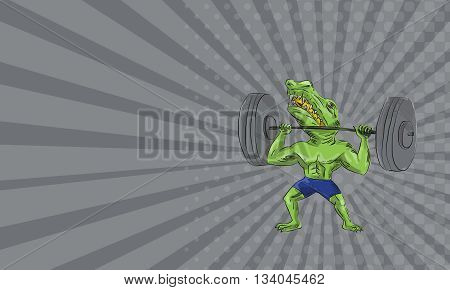 Business card showing illustration of Sobek also called Sebek Sochet Sobk and Sobki an ancient Egyptian deity with head of crocodile and body of a man lifting a barbell viewed from front set on isolated white background done in caricature cartoon style.
