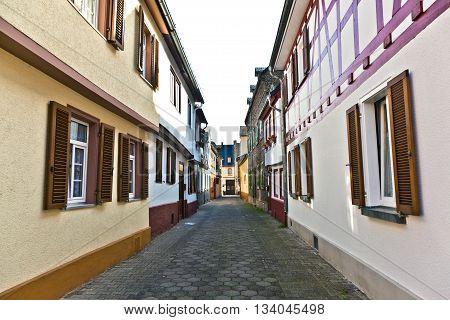 ELTVILLE, GERMANY - JUNE 3, 2011: medieval street with old half-timbered houses