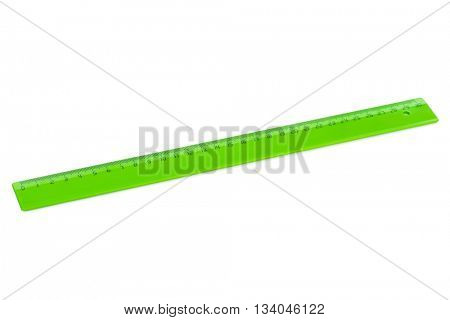 Green ruler isolated on white background