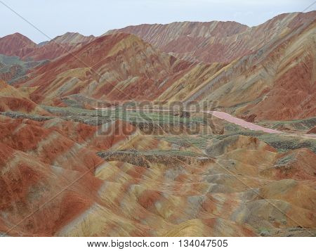 Rainbow hills (multicoloured mudstone rocks) near Zangye (Zhangye Danxia) in Gansu province, China.