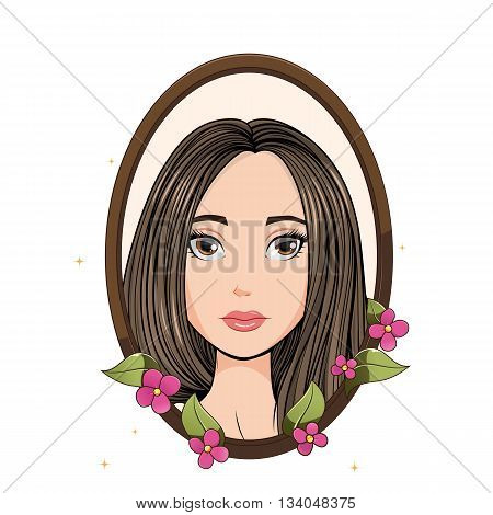 Invitation with pretty young girl. Vector illustration.