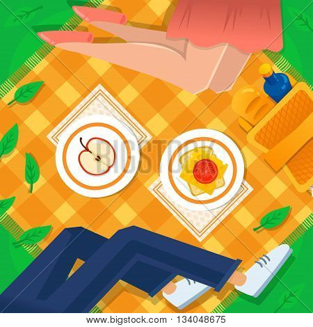 Girl and boy at the picnic vector illustration. Picnic basket, apple, sandwich, checkered tablecloth. Happy weekend