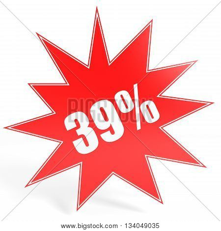 Discount 39 Percent Off. 3D Illustration.