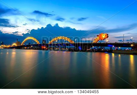 DA NANG, VIETNAM, April 24, 2016 dragon bridge, Bridge was designed by Ammann & Whitney Consulting Engineers with Louis Berger Group, the bridge spanning the Han River, Da Nang city, at night