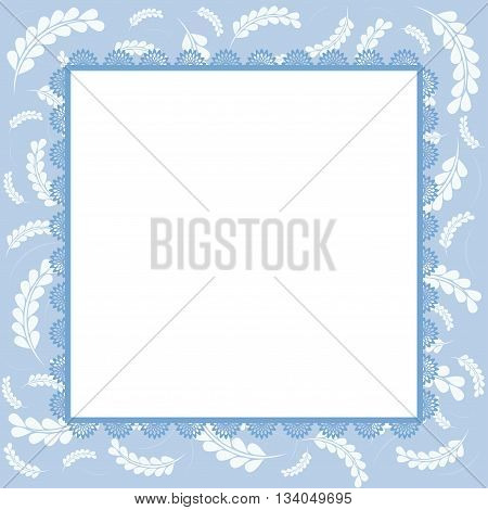 Floral decorated blue greeting card for design