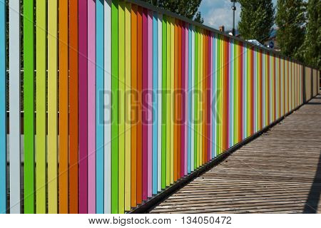 Wooden Deck With Colorful Fence