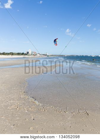 Melbourne - March 3 2016: Australia inscription on the sand in the Bay of Port Phillip in Victoria harbor with yachts and March 3 2016 Melbourne Australia