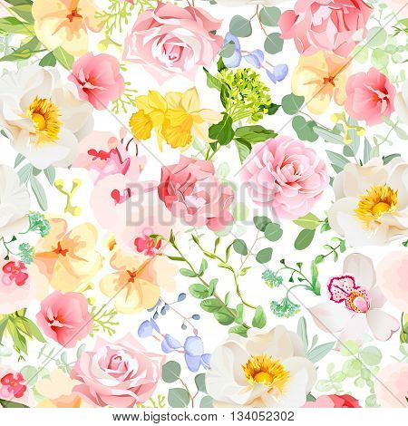 Multicolor floral seamless vector print with varied plants and flowers. Orchid rose hydrangea carnation daffodil camellia narcissus wildflowers. Summer cheerful pattern.