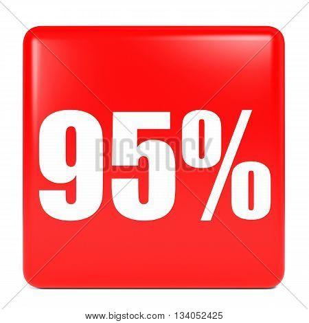 Discount 95 Percent Off. 3D Illustration.