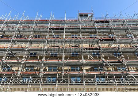 Scaffolding in Paris, renovation of an ancient building