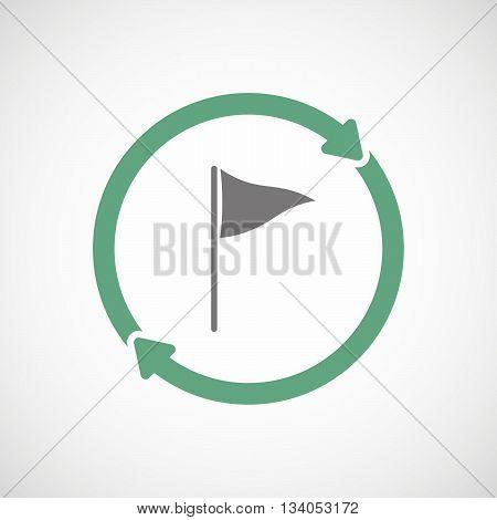 Reuse Line Art Sign With A Golf Flag