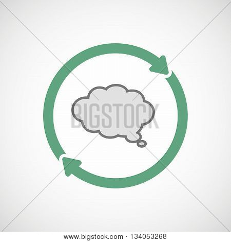 Reuse Line Art Sign With A Comic Cloud Balloon