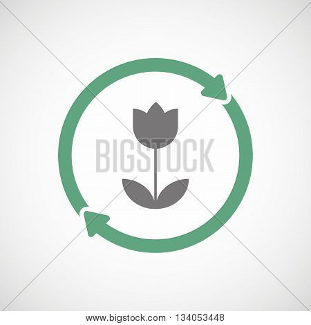 Reuse Line Art Sign With A Tulip