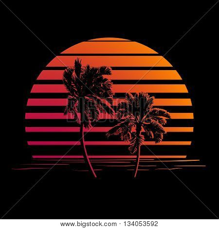 Summer holiday design. Tropic sunset. Palm trees silhouettes on black and orange stripes. Minimalistic style logo. EPS10 vector illustration.