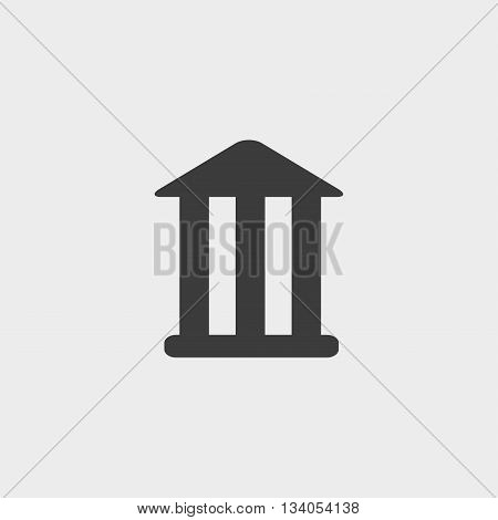 Bank icon in a flat design in black color. Vector illustration eps10