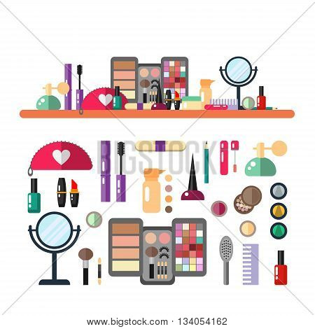 Vector flat illustration make up cosmetic. Set of design cosmetics, make up icons, elements with header banner illustration. Beauty store.