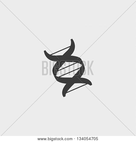 DNA sign icon in a flat design in black color. Vector illustration eps10
