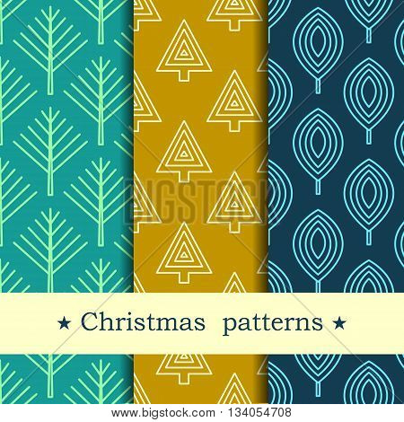 Winter forest background.  Seamless pattern for winter and christmas theme. Vector illustration.