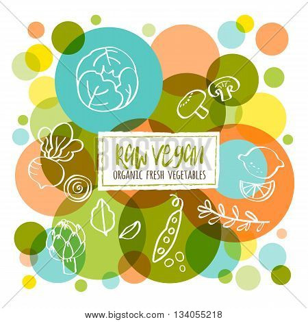 Raw Vegan Organic fresh vegetables conceptual doodles illustration