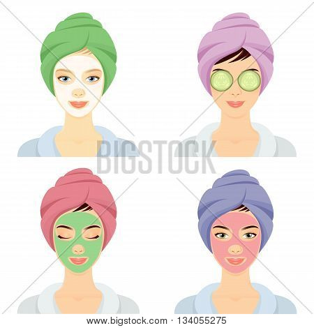 Set of 4 women with cosmetic face masks. Smiling girl portrait. Clean skin, cosmetics concept, fresh healthy face. Beautiful model. Graphic design element for spa or beauty salon poster
