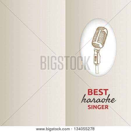 Retro microphone background. Hand drawn vintage illustration. Suitable for greeting card, invitation to karaoke night party. Vintage design element